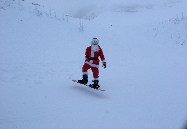 still knee deep pow in the trees. santa spotted as well