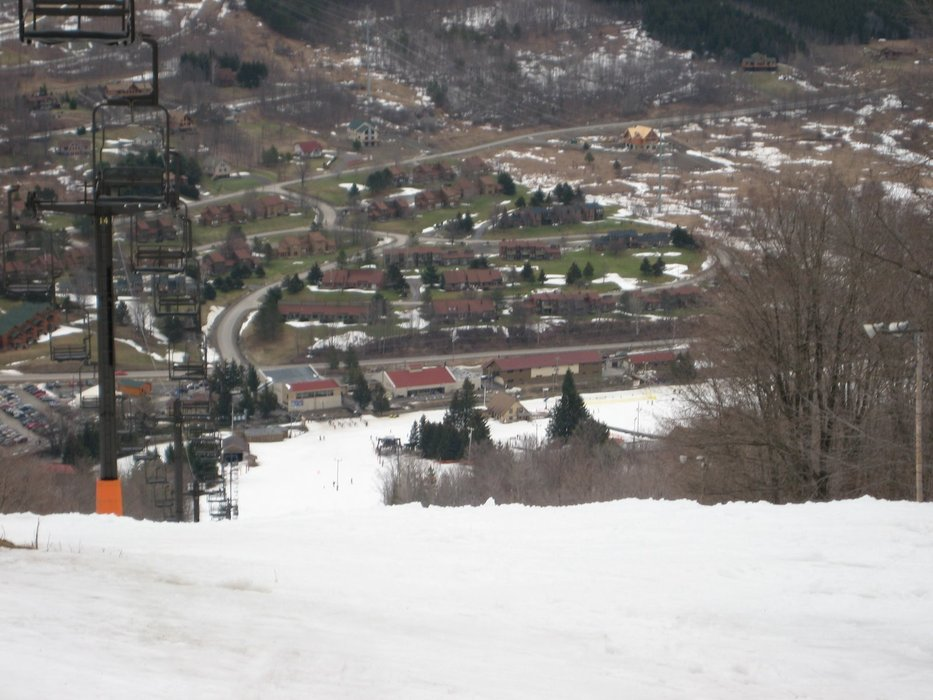 A view looking down on the village area at Greek Peak Mountain Resort, New York