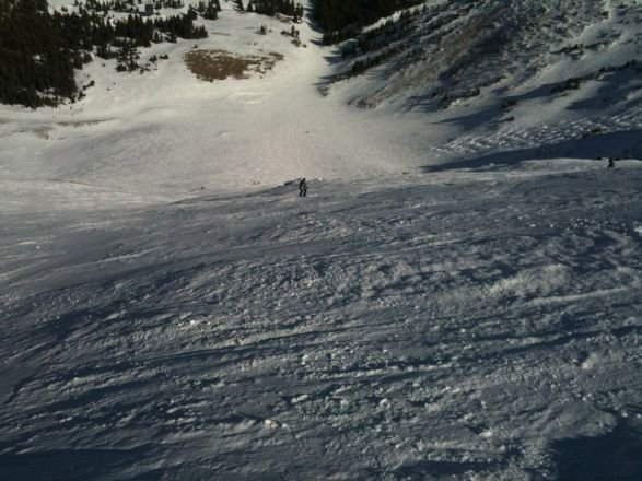 Skiing down Artes Bowl this season.