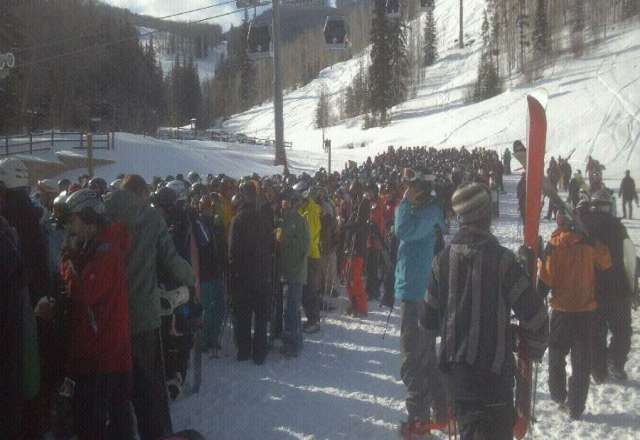 Huge locals line at lift #1 never seen such a line! Worth the wait great day