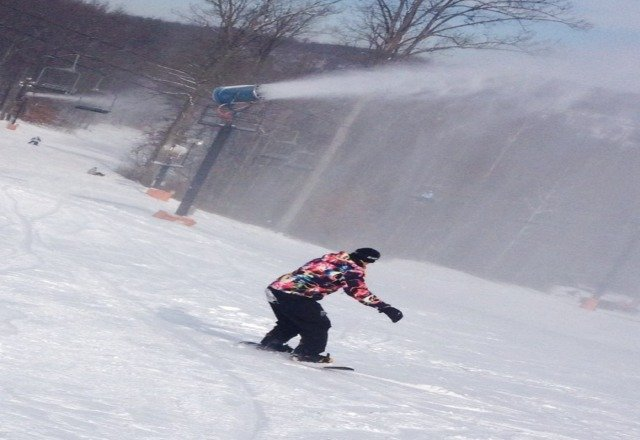 blowing snow as much as they can. not crowded . good conditions