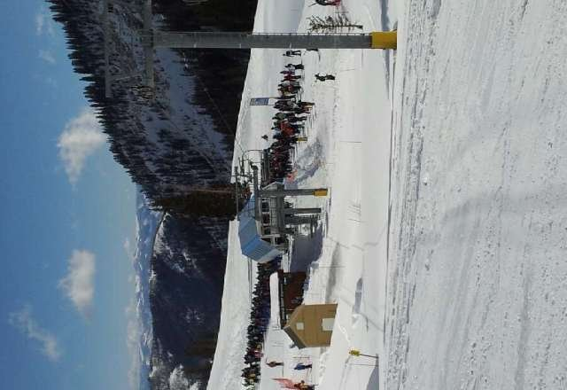 Crazy lift lines in mineral basin. Sunny but high winds