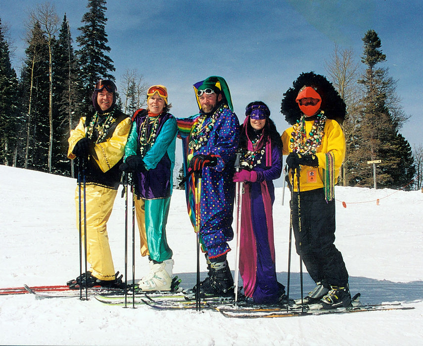 Mardi Gras skiers at Red River, NM