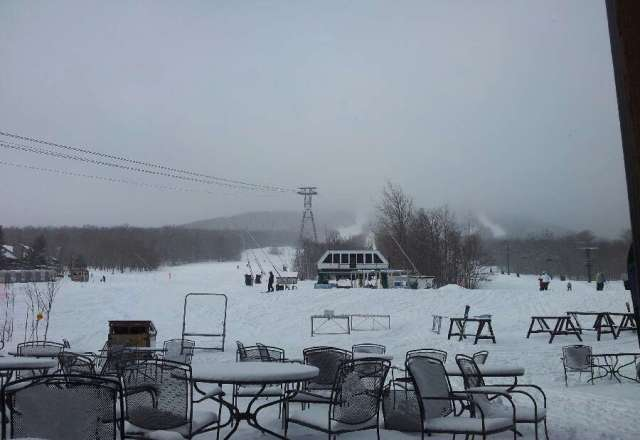 view at the base today. More snow today and lots open- great quality. Winter's not over yet.