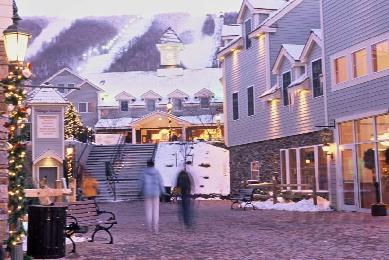 A view of the lodge and village in Jiminy Peak, Mass.
