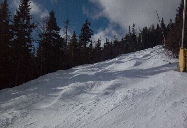 Crazy wind, pow is hiding on the sides of the trails.