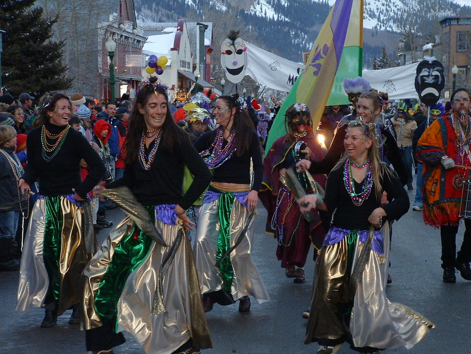Mardi Gras dancers in Crested Butte, Colorado