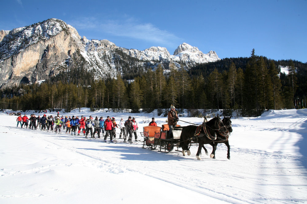 Horse-drawn ski lift in the Italian resort of Alta Badia