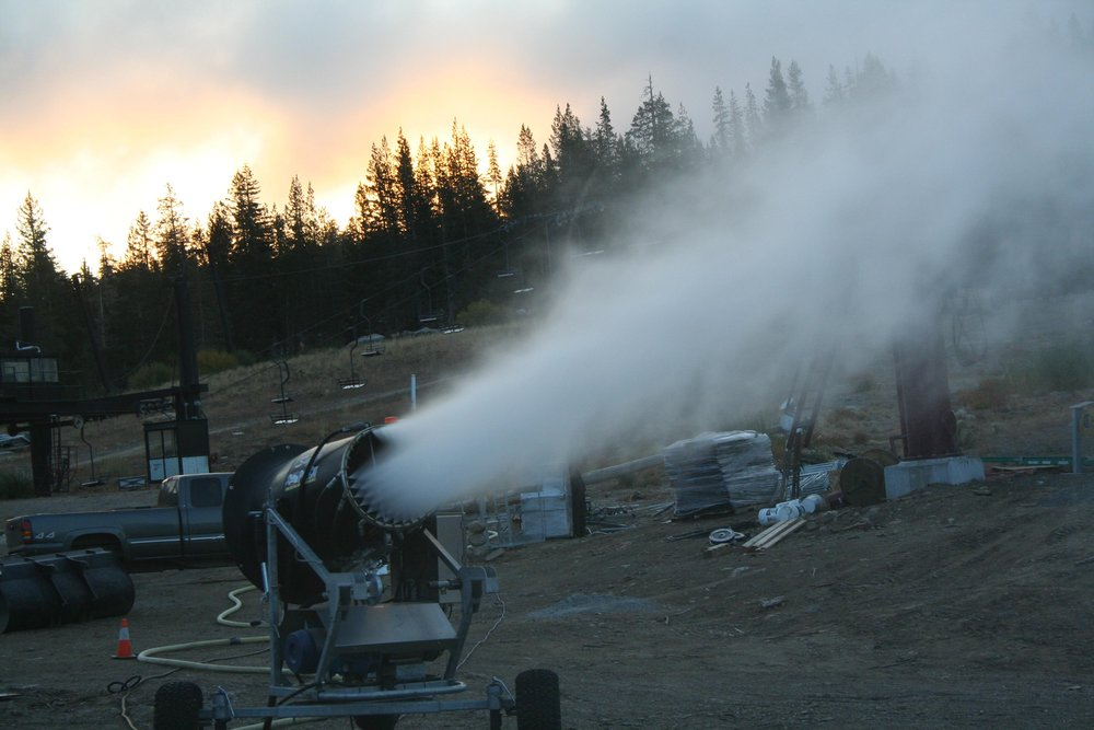Boreal, California testing their snowmaking equipment.