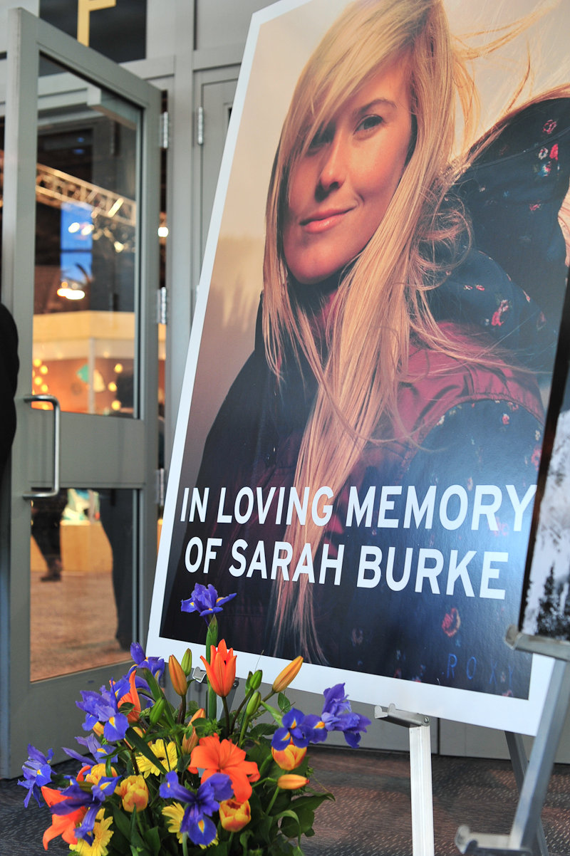A moving tribute to Sarah Burke at the entrance to SIA.