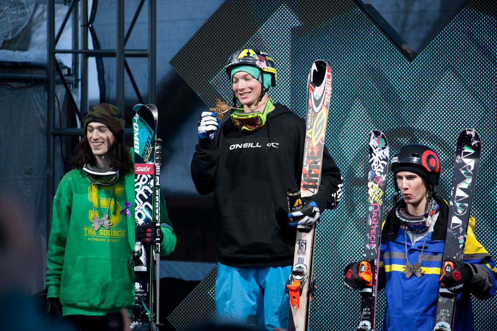 Men's skiing Superpipe podium. Photo by Sasha Coben