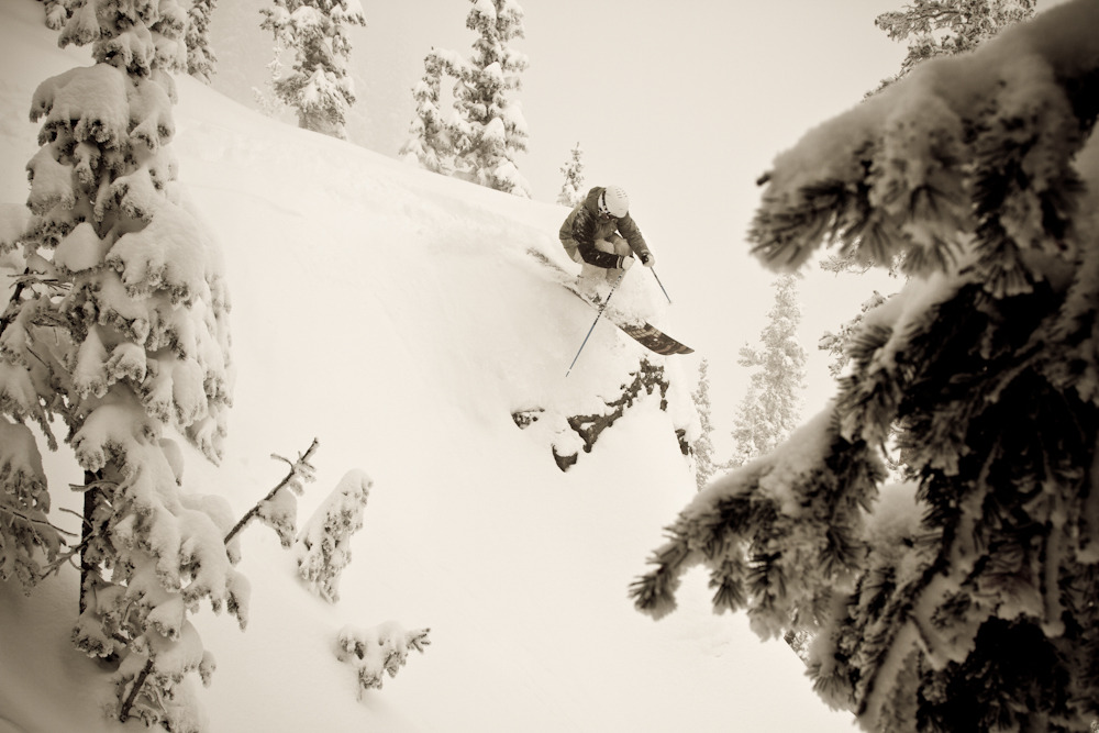 On our first day there was little visibility in the bowls, but once we got into the trees the conditions were excellent. Photo by Liam Doran.