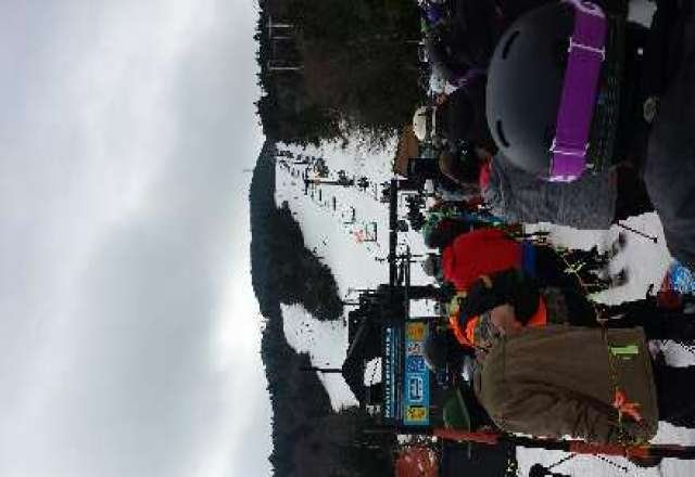 Long lines decent snow considering the weather they are starting the guns again tonight