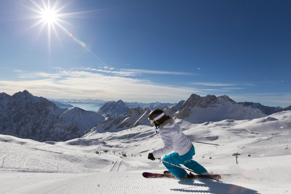 Carving up the slopes on the Zugspitze, Germany