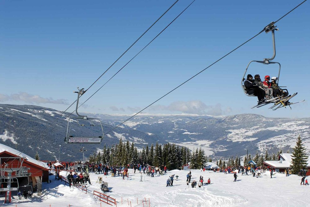 Taking the chairlift at Lillehammer, Norway