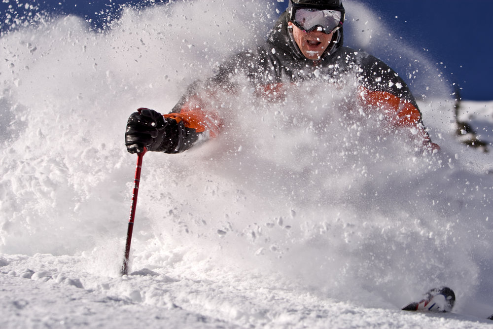 A skier finds powder in Alpine Meadows, California