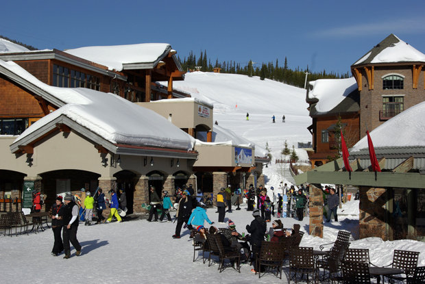 Mountain Village has shops, restaurants, bars, ski school, rentals and lodging. - ©Glennis Indreland/Big Sky Resort