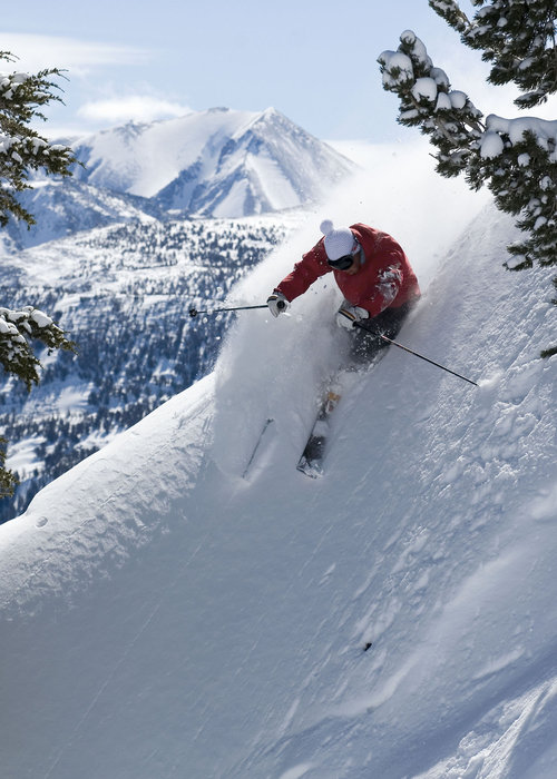 A skier finds powder in Mammoth Mountain, California's backcountry