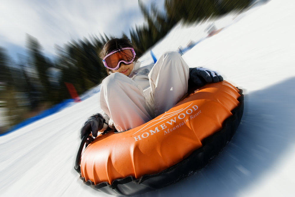 Snow tubing at Homewood Mountain Resort, California