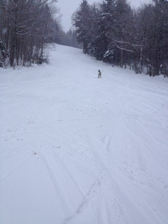 Snowing the whole day, loved it.  Watch the ungroomed areas because of the crust under the powder.  The volunteers are doing a fantastic job.  Inexpensive and well worth it!