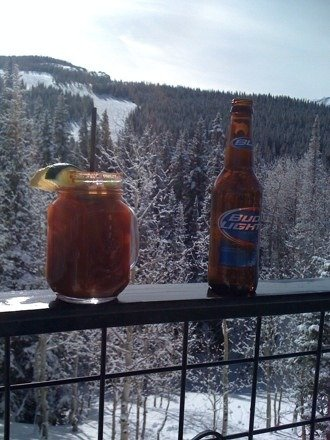 Stop for a bloody Mary and a beer at Sam's knob. Great skiing today hope my little buddy Paul can get out here skiing too.