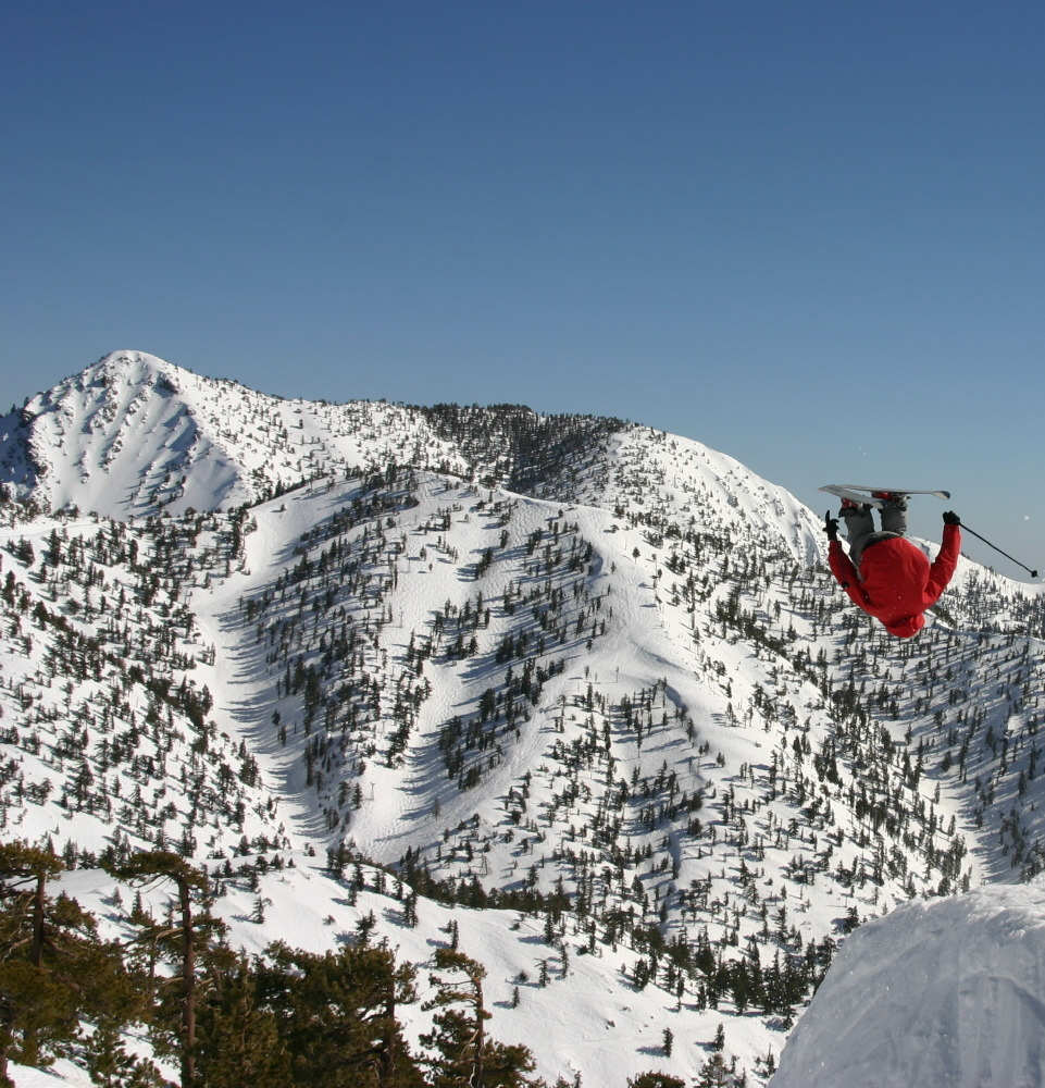 A skier gets elevation and a scenic view at Mt. Baldy Ski Resort, California