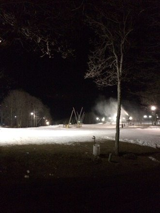 Making snow! Park setup is decent for being on the side of Dobie. Jump was big enough to boost some 5's off of though