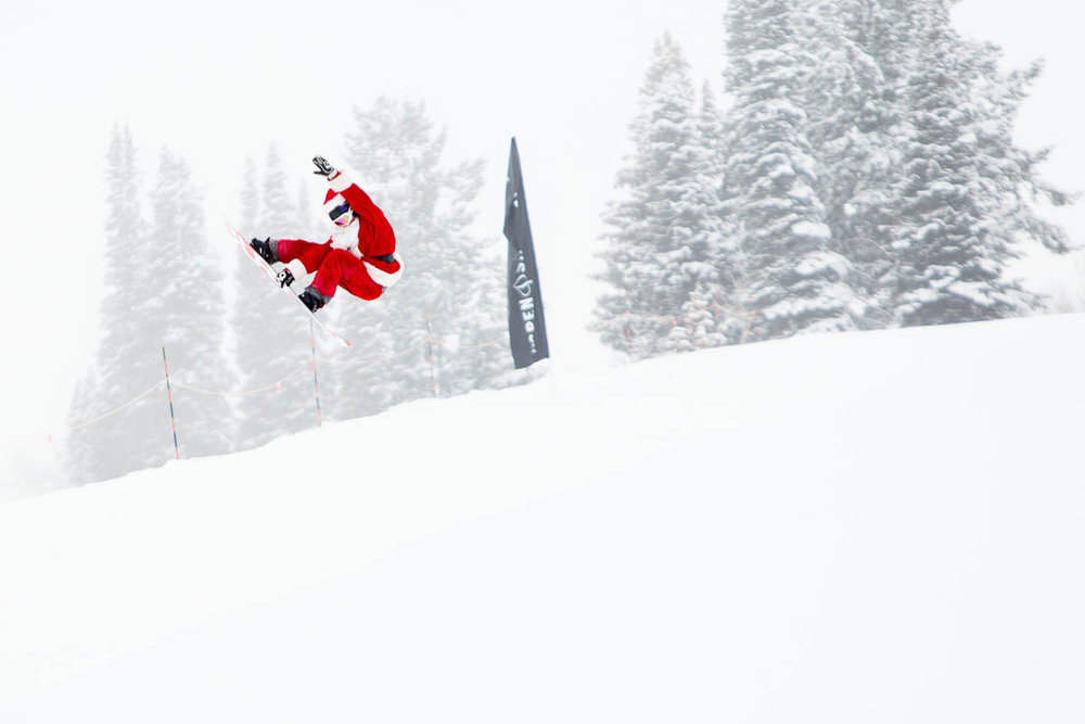 Santa catches air in the superpipe at Buttermilk - ©Jeremy Swanson