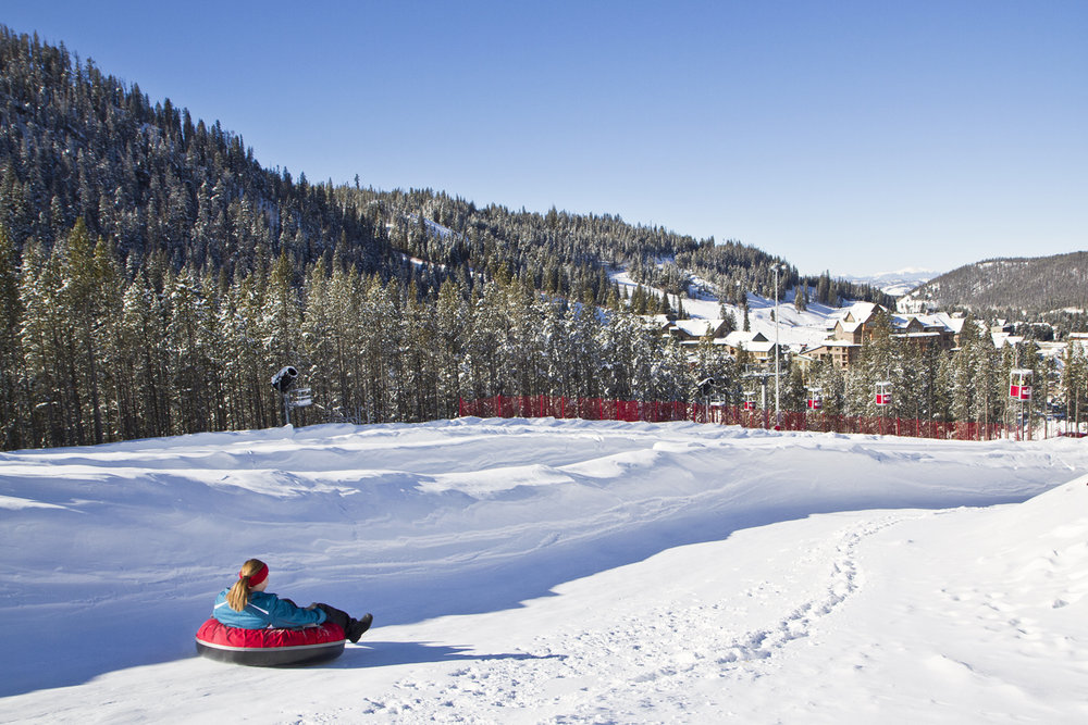 The Tubing Hill at Winter Park has four lanes and banked curves.