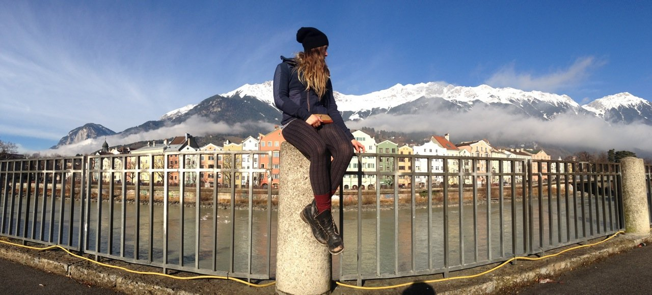Travis Ganong got a chance to meet up with girlfriend, Marie-Michele Gagnon between World Cup races to unwind a bit. Here they are exploring Innsbruck.  - ©Travis Ganong