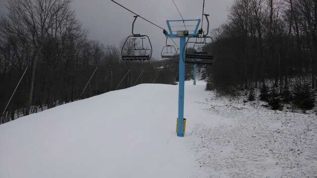 light flurries. surface is packed fake with about 2-3 inches before the ice. a few trails are very large granules.   Very few people here for MLK day. lines so far  1-2 min on 6-pack, no lines elsewhere.