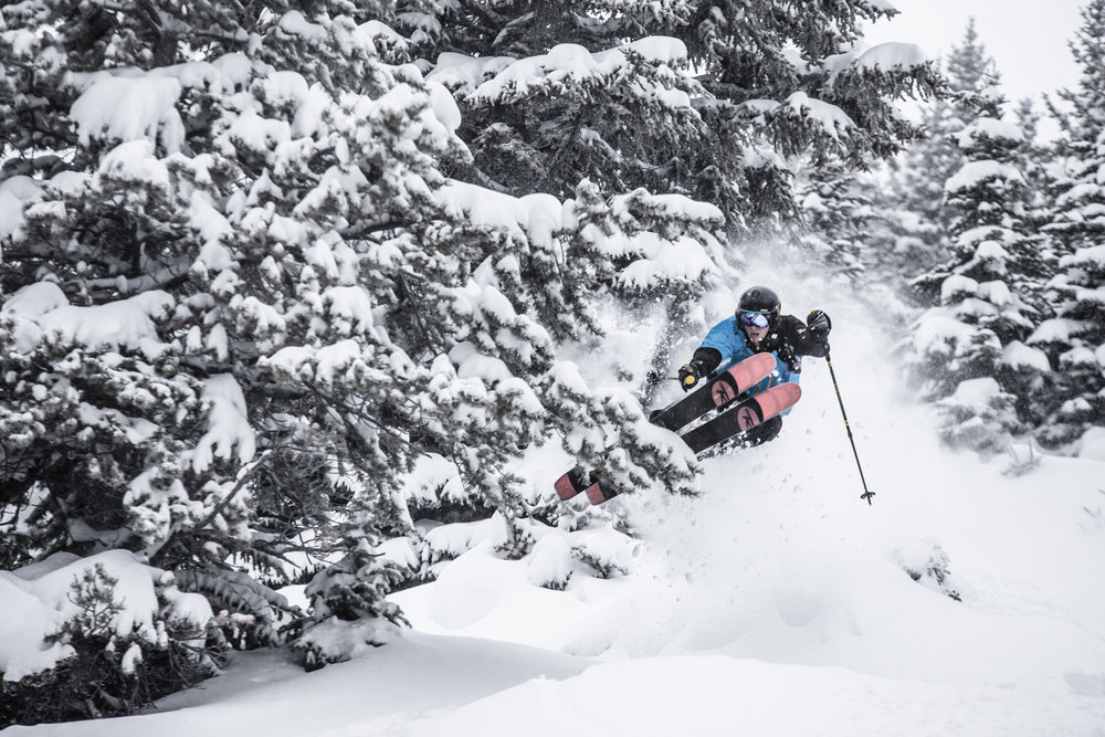 Another day, another storm. Ben Evely gets it at Lake Louise. - ©Liam Doran