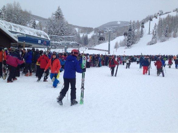 Epic fail.   Wrong resort today.   Less snow than reported, longest lines I've ever seen at the base.  Wish I was at Breck for their 2+ foot day!    Efff!!!