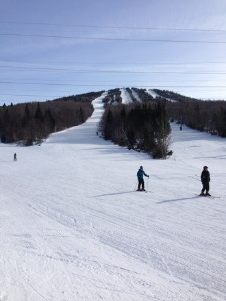 Perfect ski day! Great snow and lots of fun for the family. Good machine groomed surface. Lots of snow. No ice.