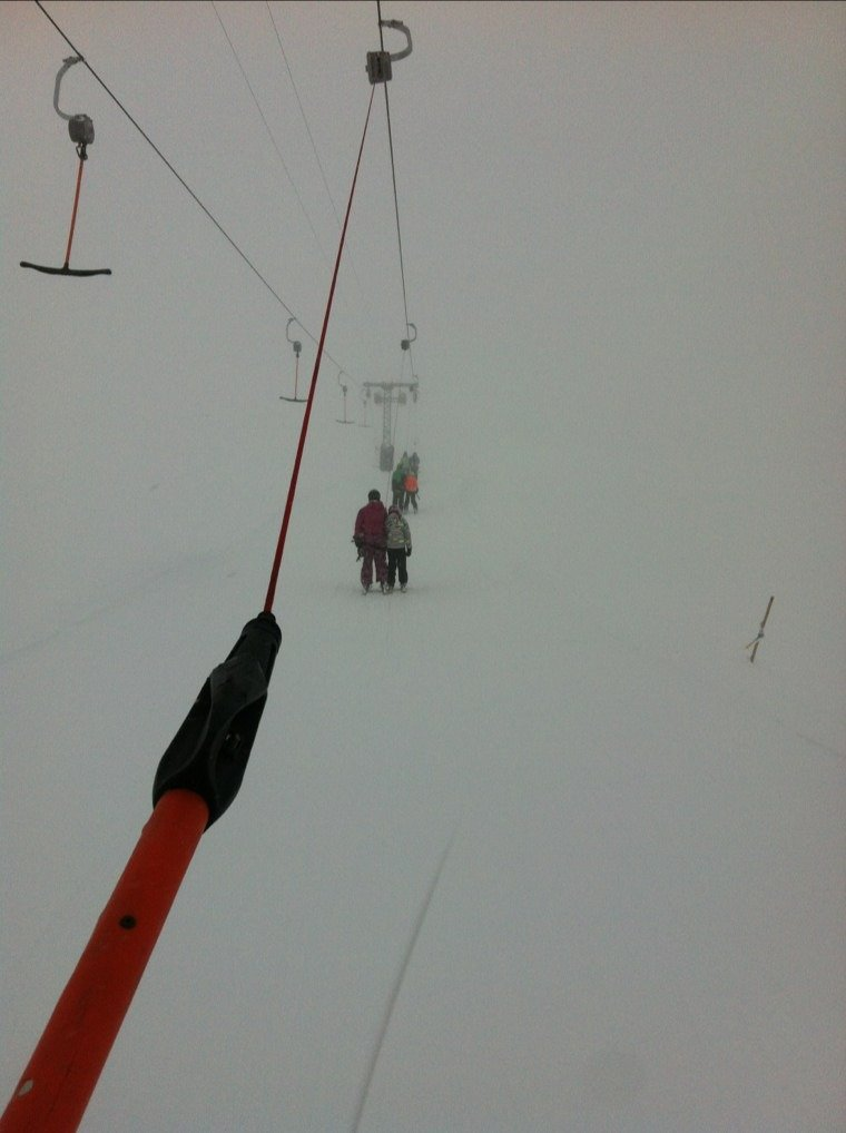 very cloudy, almost no visibilty.  nice mountain but hard to ski when you cant see.
