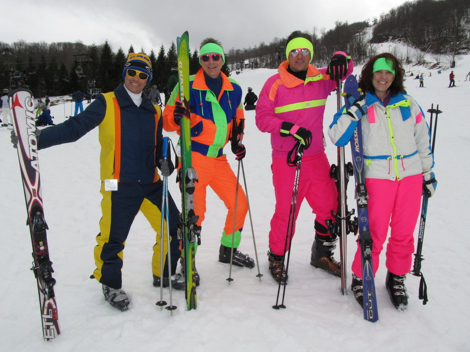 Neon-clad skiers at Beech Mountain Resort.