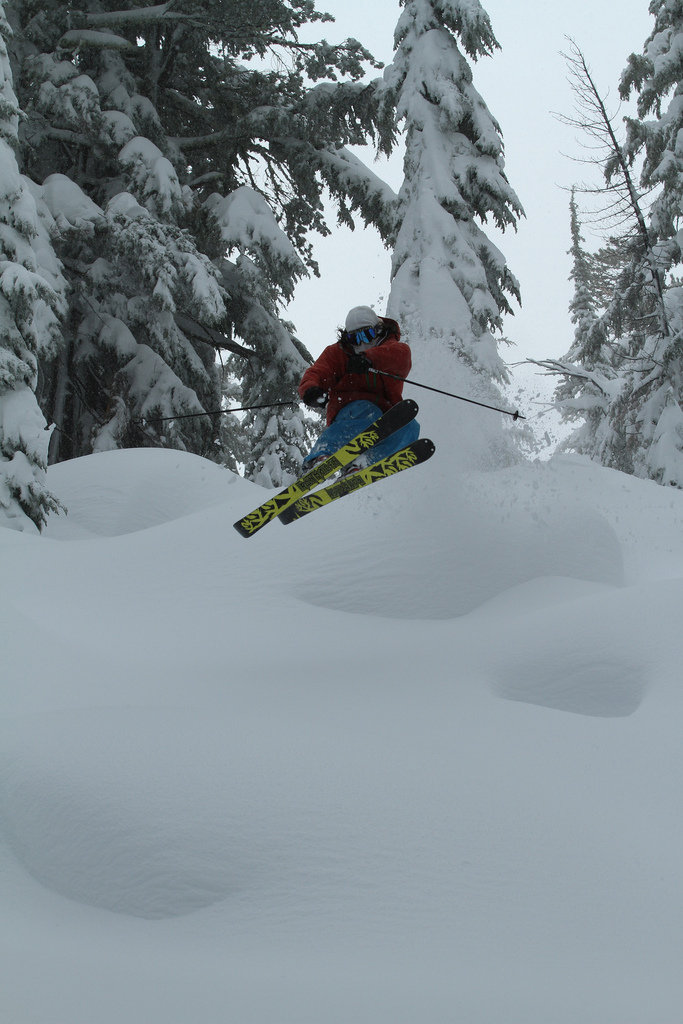Skier Ty Dayberry catching air at Sierra.