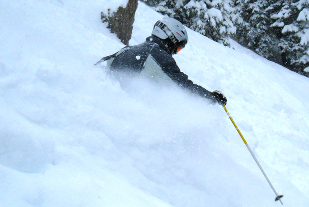 A skier descends Haskill Slide on a powder day at Whitefish Mountain Resort. - ©Becky Lomax