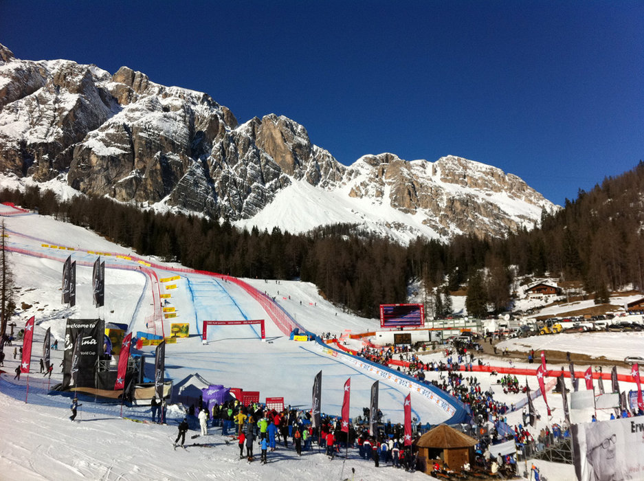 The women's Cortina downhill race begins on what is easily the steepest, most harrowing start hill on the women's World Cup tour.