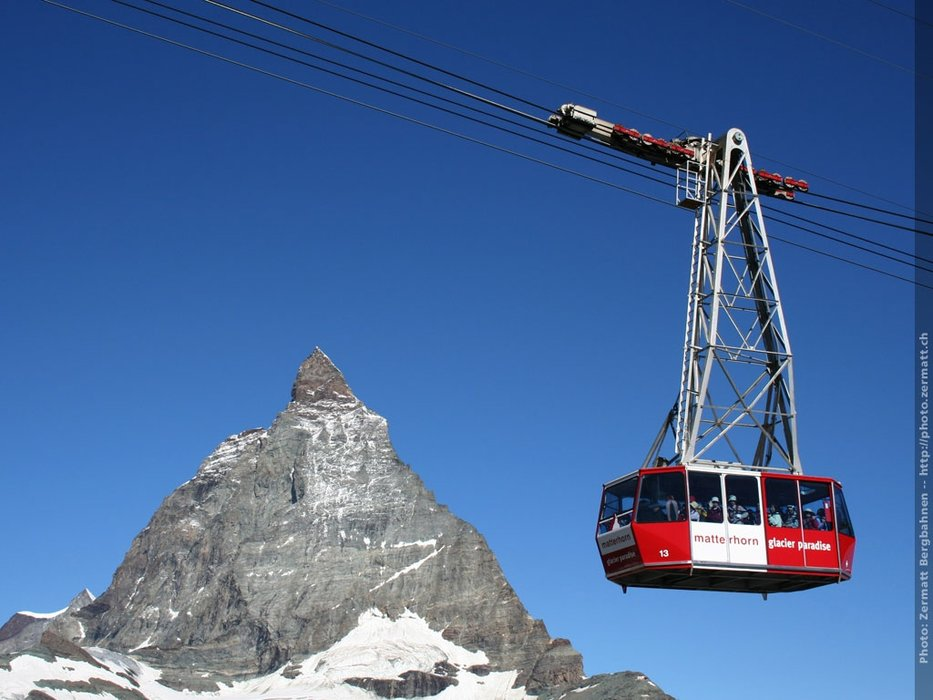 Zermatt cable car on the Matterhorn
