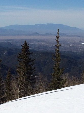 Nice view of Sandia Peak from top of Santa Fe.  Good conditions but need some snow!