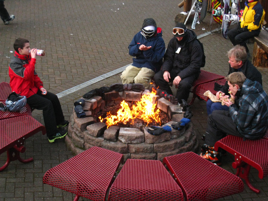 Outdoor fire pits flank each of the base areas at the Summit at Snoqualmie. - ©Becky Lomax