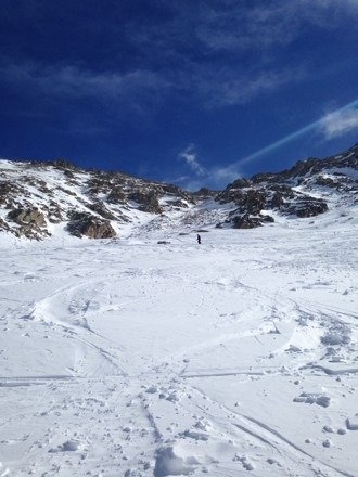 Lower East Wall opened for the first time on Sunday. Mountain is skiing great.