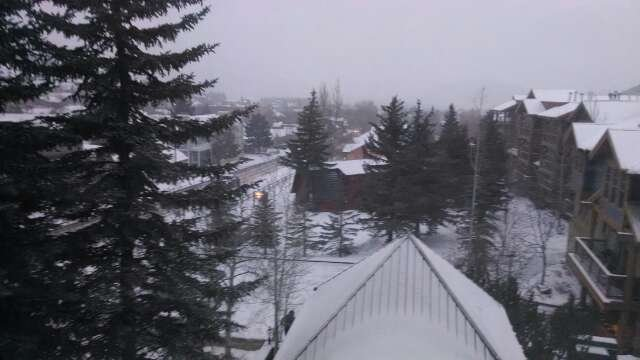 3/1/14 7:00 am.  Pic taken in town.  Low visibility.  Has to be snowing hard on mountain.