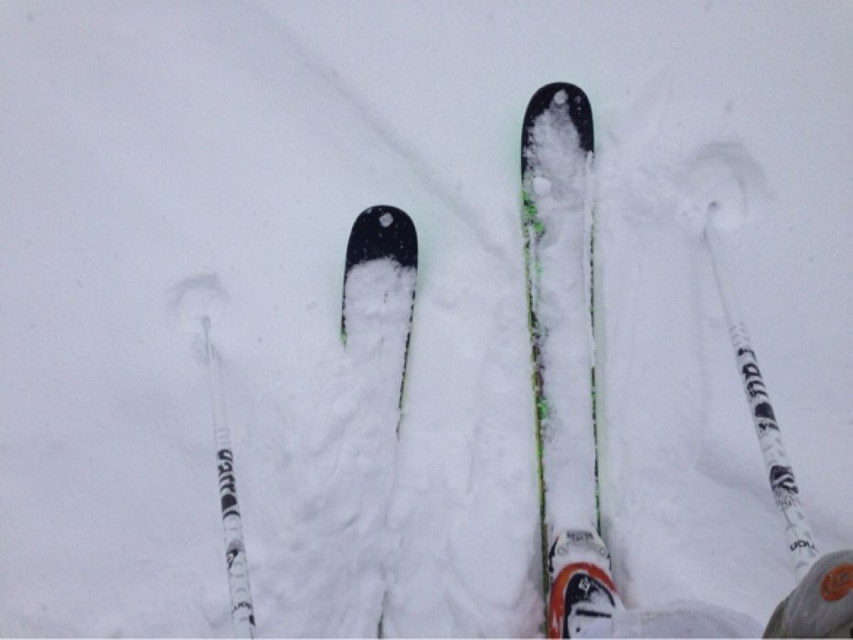 At least 6 inches of pow today and still snowing when we left.  Stoked.