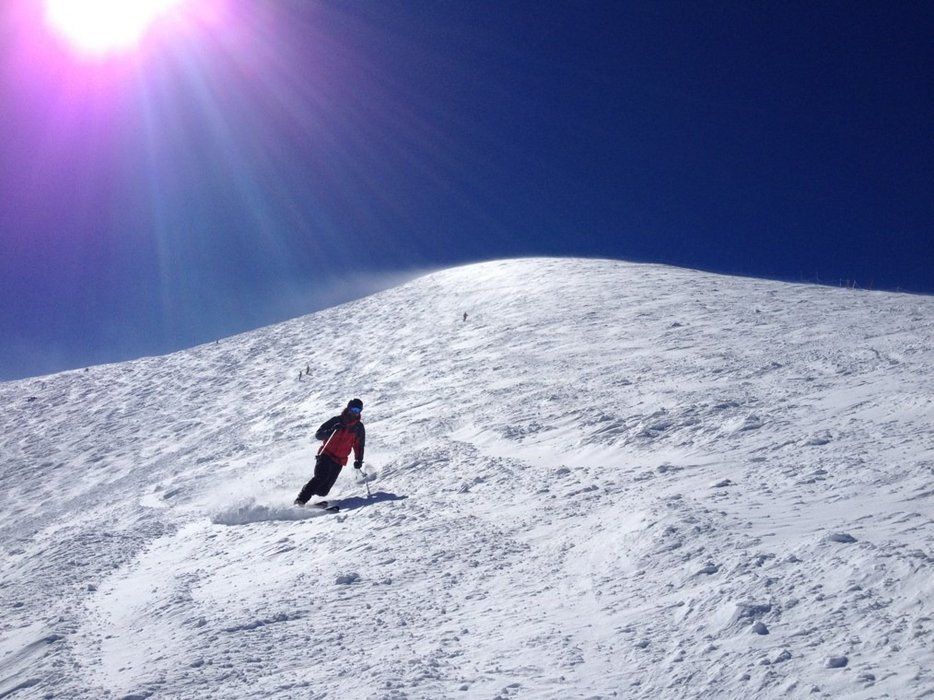 Great day, finding nice snow in the trees and some windblown up high!