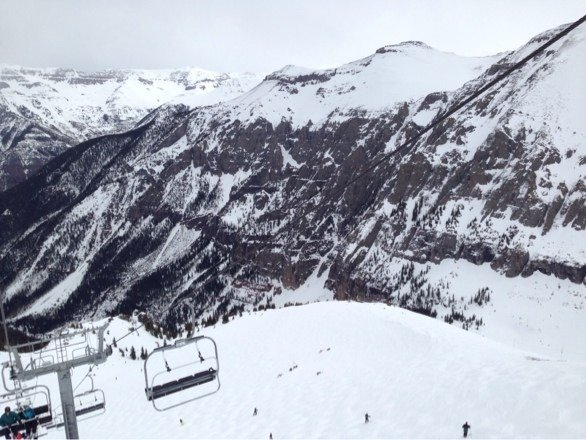 Skiing is great, icy in the morning and softens up mid day. Great base, no rocks. Top is skiing great.