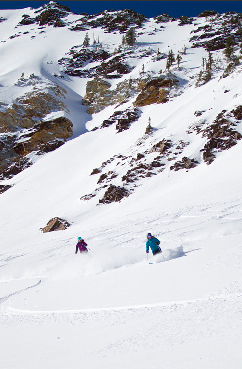 Day 3 at Snowbird was bluebird all the way, but testers were still finding the pow to see what these all-mountain skis are made of. - ©Cody Downard Photography