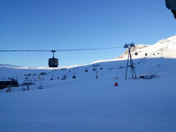 fabulous day. snow is not perfect but still good. not sure how long for as it is so warm. most pistes are not breaking up yet
