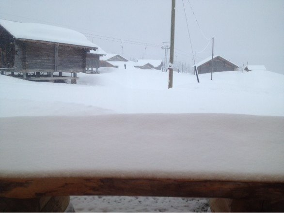25 cm in high areas and 8cm in base . Weather conditions are not ideal but powder , powder!